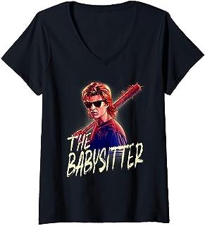 Femme Netflix Stranger Things Steve The Babysitter Portrait T-Shirt avec Col en V