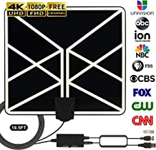 $25 » HDTV Antenna 4K 1080p, 2019 New Indoor Amplified Digital TV Antenna 120 Miles Range with Amplifier Signal Booster Free Local Channels Support All Television with 18 FT Coaxial Cable (Black)