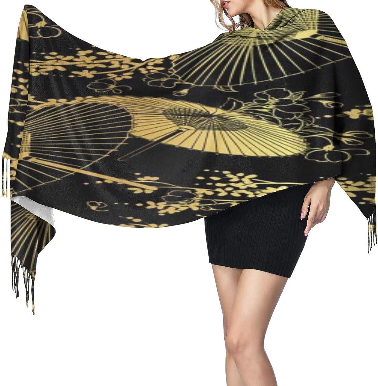 Cashmere fringed scarf gold black fan flower unbrella winter extra large scarf