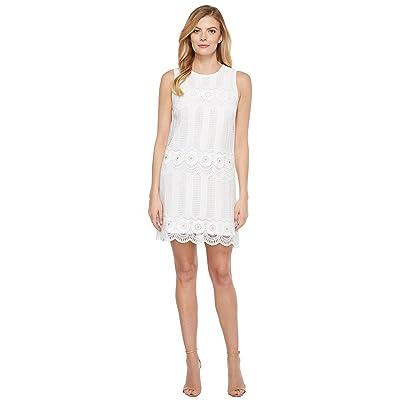 Laundry by Shelli Segal Venise Dress w/ Metal Eyelet Details (White) Women