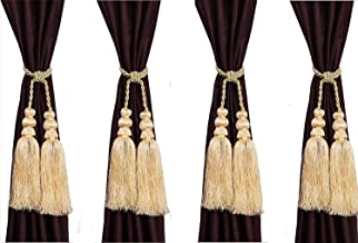 SUNHERI Beautiful Polyester Tassle Curtains Tie-Backs (Beige) - Set of 4