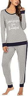 Women Pajama Set Long Sleeve Top and Pants Printed O Neck Sleepwear Soft Pjs Sets (S-XXL)