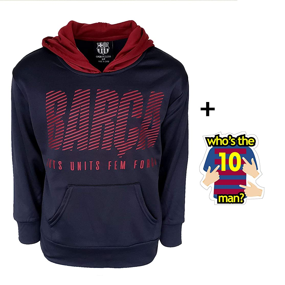 FC Barcelona Hoodie Hooded Sweatshirt Fleece Navy Youth Boys Official Licensed and Sticker mltidcow5