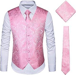 WULFUL Men's 3pc Paisley Vest Necktie Pocket Square Set for Suit or Tuxedo