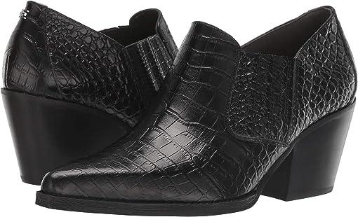Black Kenya Croco Embossed Leather