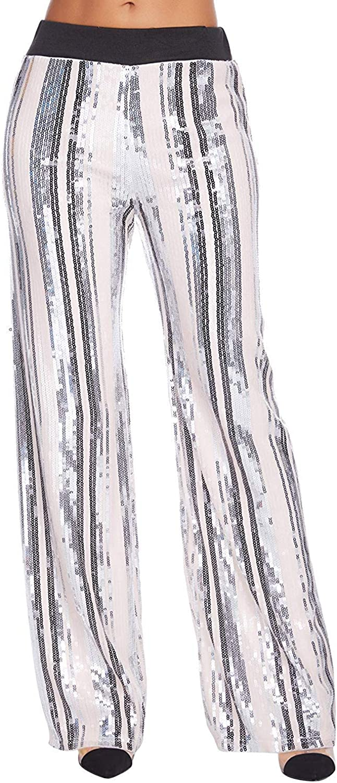 NeeMee Women Fashion High 1 year warranty Waist Stretchy Sequin Leg Philadelphia Mall T Pants Wide