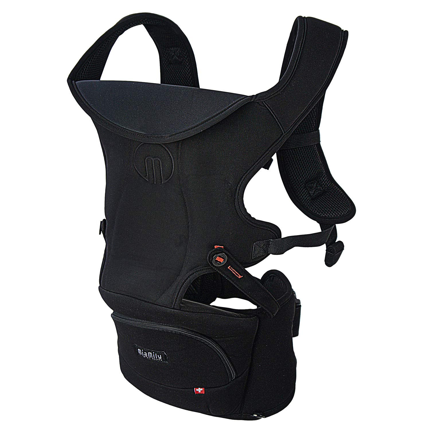 MiaMily Hipster Essential Forward-Facing Baby Carrier with 3-Carry Options and Compact Storage Compartment Black