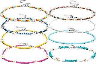 Beaded Choker Necklace for Women Boho Flower Necklace Colorful Beaded Necklace Daisy Beaded Choker Summer Beach Necklace S...