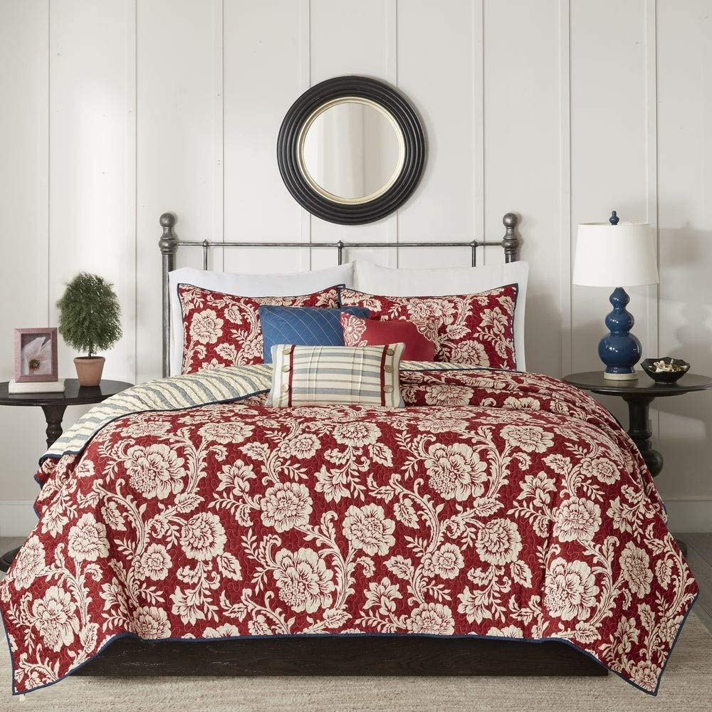6 Piece Victorian Christmas Floral Reversible Twill Motif NEW before selling ☆ Ranking TOP3 Cotton