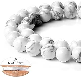 BEADNOVA 10mm Natural White Howlite Gemstone Round Loose Beads for Jewelry Making (38-40pcs)