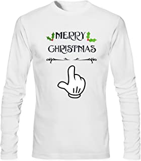 TCOO Men's Mickey Mouse Hand With Christmas T-Shirt