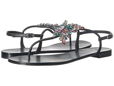 Giuseppe Zanotti Crystal Butterfly Thong Sandal (Nappa Neropaco) Women