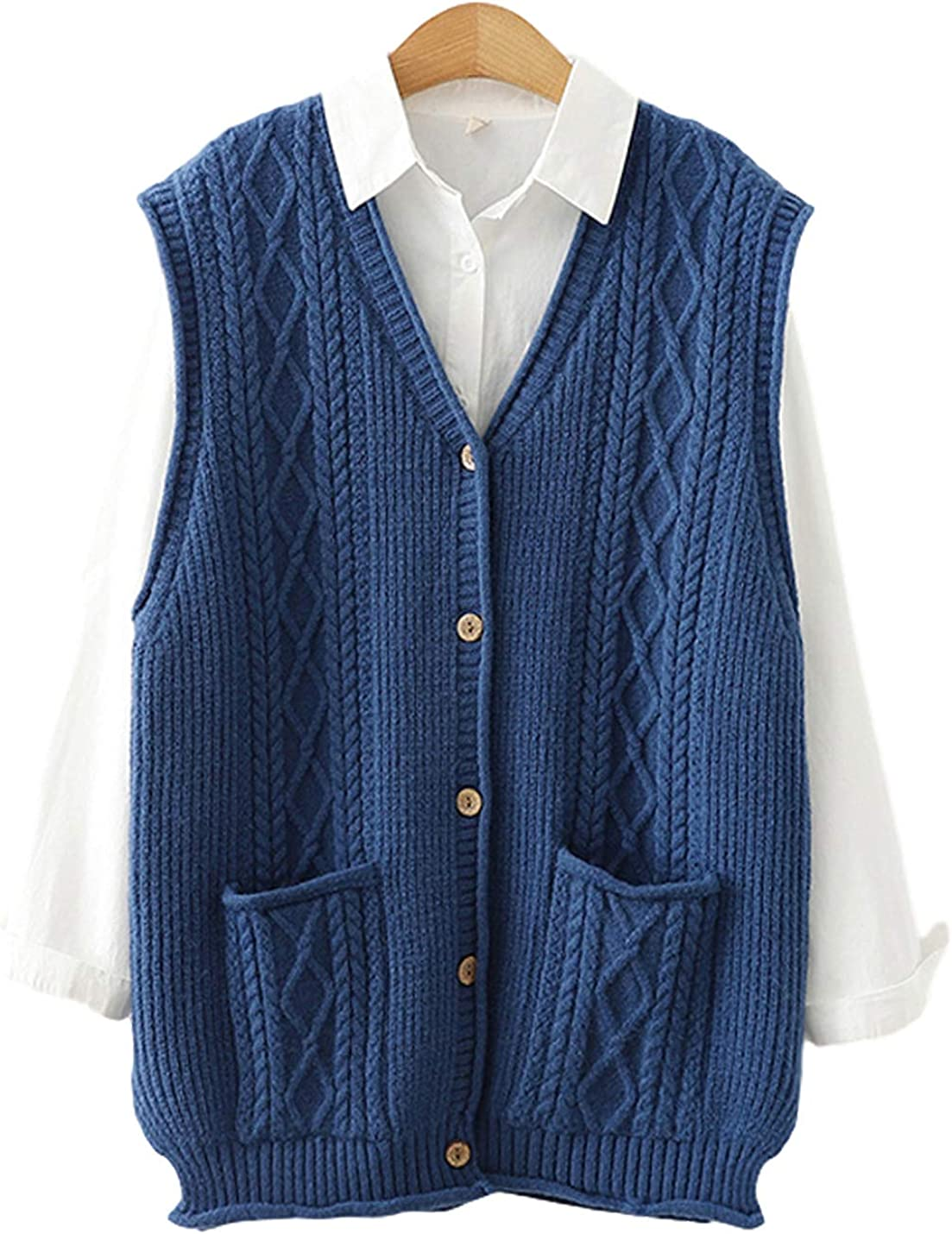 Gihuo Womens Button Down Cable Knit Sweater Vest Sleeveless Cardigan