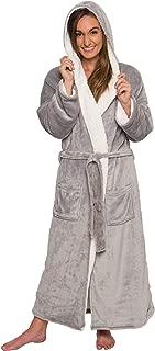 Women's Sherpa Lined Long Robe - Luxury Full Length Plush Fleece Bathrobe
