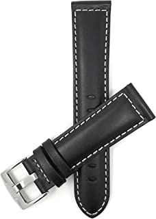 Mens Leather Watch Band Strap - White Stitching - 4 Colors - 18mm, 20mm, 22mm, 24mm, 26mm, 28mm, 30mm (All Sizes Also Come in Extra Long XL)