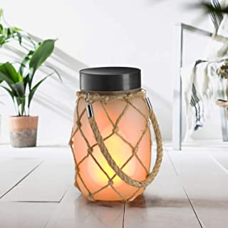 Auraglow Lanterna Lampada Luce da Tavolo con Vaso in Vetro LED USB & a Energia Solare da Interno & Esterno con Fiamma Fuoc...