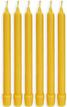 BCandle 100% Pure Beeswax Candles (Set of 6) 8-hour Organic Hand Made - 8 Inches Tall, 3/4 Inch Diameter; Tapers