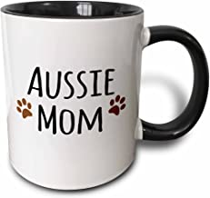 3dRose Aussie Dog Mom - Australian Shepherd Doggie by Breed Brown Muddy paw Prints Doggy Lover Mama Love - Two Tone Black ...