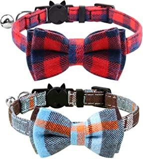 MDENOVO Cat Collar Breakaway with Bell and Bow Tie, Cute Plaid Patterns Design Adjustable Kitty Safety Collars 2 Pack Pet ...