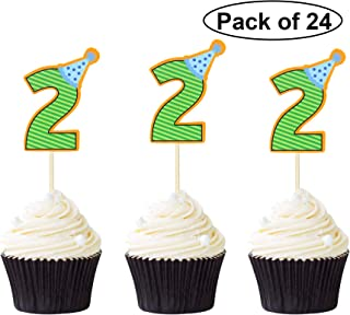 24 PCS Number 2 Cupcake Toppers 2nd Birthday Caupcake Picks with Caps Birthday Theme Cake Pick