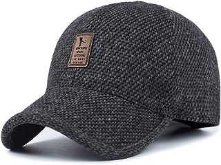 Men's Winter Warm Wool Woolen Tweed Peaked Baseball Cap Hat with Fold Earmuffs Warmer