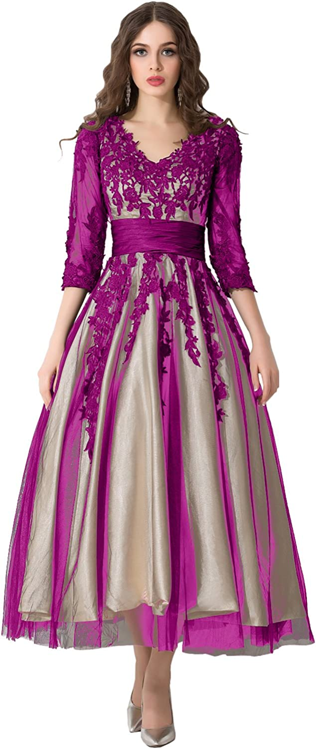 DINGZAN V Dallas Arlington Mall Mall Neck Ball Lace Mother Dress with The Sleeves of Bride