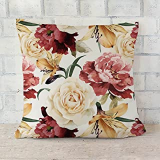 ArtzFolio Roses D2 Cushion Cover Throw Pillow Velvet Fabric 20x20inch (50.8x50.8cms); Set of 6; Without Filler