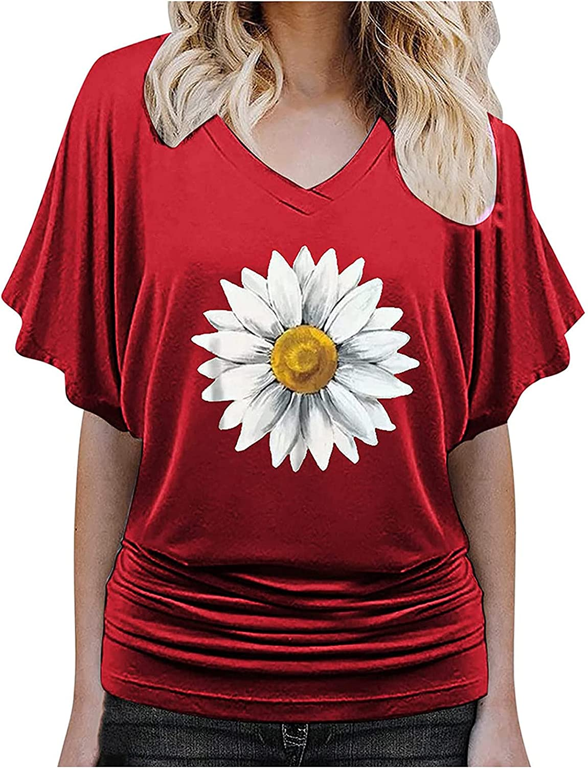 Women's Short Sleeve Tunic Tops Graphics V-Neck Loose T Shirts Short Sleeve Casual Pullover Tee Tops