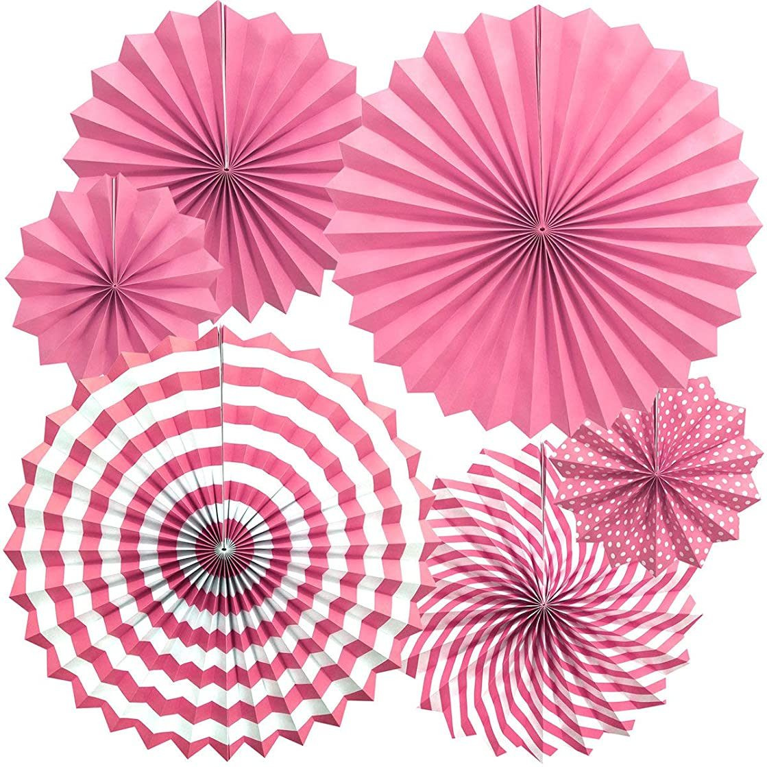 Zolee Hanging Paper Fans Decorations Kit for Wall - Set of 6 Circle Rosettes Tissue Paper Fans Bulk for Party Favors, Wedding, Birthday, Festival, Christmas, Events, Home Decor (Pink)