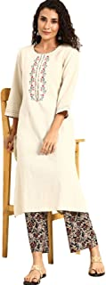 Soch Women's cotton straight Salwar Suit Set (SS20CWEMB59B_ Off White_ X-Small)