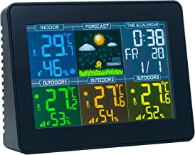 Mcbazel Digital Wireless Weather Station Indoor Outdoor Thermometer Hygrometer with 3 Outdoor Sensors Colorful Screen Display