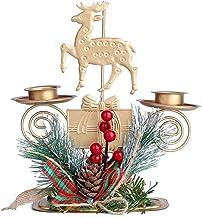 Dutyrow Castiçais de Natal, candelabro antigo estilo europeu enfeite de metal para decoração de casa, casamento, sala de e...