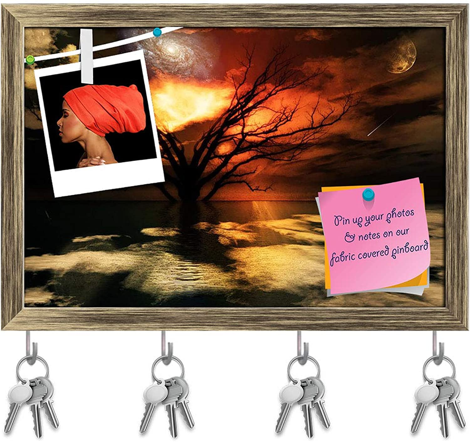 Artzfolio Magical Landscape Key Holder Hooks   Notice Pin Board   Antique golden Frame 17.5 X 12Inch