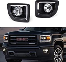 iJDMTOY Complete Set Fog Lights Foglamp Kit with Halogen Bulbs, Wiring On/Off Switch and Black Garnish Bezel Covers/Brackets For 2015-2018 GMC Sierra 2500HD 3500HD