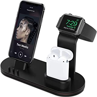 OLEBR Aluminum Alloy Charging Stand Compatible with iWatch 5/4 Watch Charging Stand for AirPods, iWatch Series 5/4/3/2/1,iPhone 11/ Xs/X Max/XR/X/8/8Plus/7/7 Plus /6S /6S Plus/iPad-Black