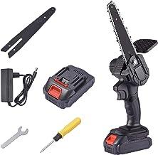haohaiyo Minisierra eléctrica, sierra de cadena eléctrica, de 6 pulgadas, portátil, con batería, con cargador y pilas, pequeña sierra de mano eléctrica inalámbrica para cortar madera y metal