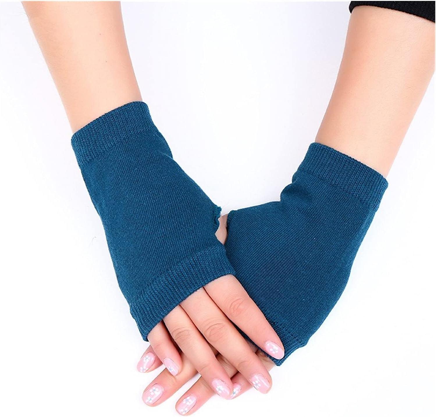 LDDJ Gloves 1 Pair Winter Gloves Female Fingerless Gloves Without Fingers Women Cashmere Warm Winter Gloves Hand Wrist Warmer Mittens Keep Warm (Color : Blue, Gloves Size : Free Size)