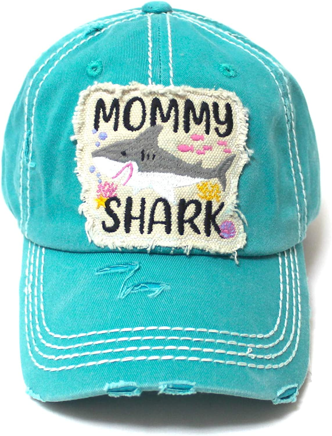 Womens Distressed Adjustable Hat Mommy Shark Patch Embroidery Monogram Ballcap, Seaworld Blue