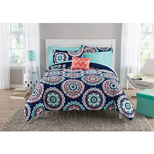 8 Piece Girls Navy Blue Coral Medallion Comforter With Sheet Full Set, Teal  Blue Color