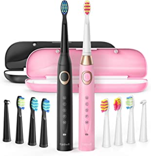 2 Electric Toothbrush, Sonic Power Whitening 40,000 VPM Rechargeable Duo Elec Toothbrushes for Adults&Kids, 5 Modes Cleaning, 8 Brush Heads 2 Travel Cases, Timer, Waterproof, 4H USB Charge for 30 Days