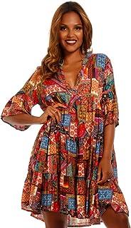 e57b9c718fdd3c YC Fashion & Style Damen Tunika Kleid mit Patchwork Muster Boho Look  Partykleid Freizeit Minikleid oder