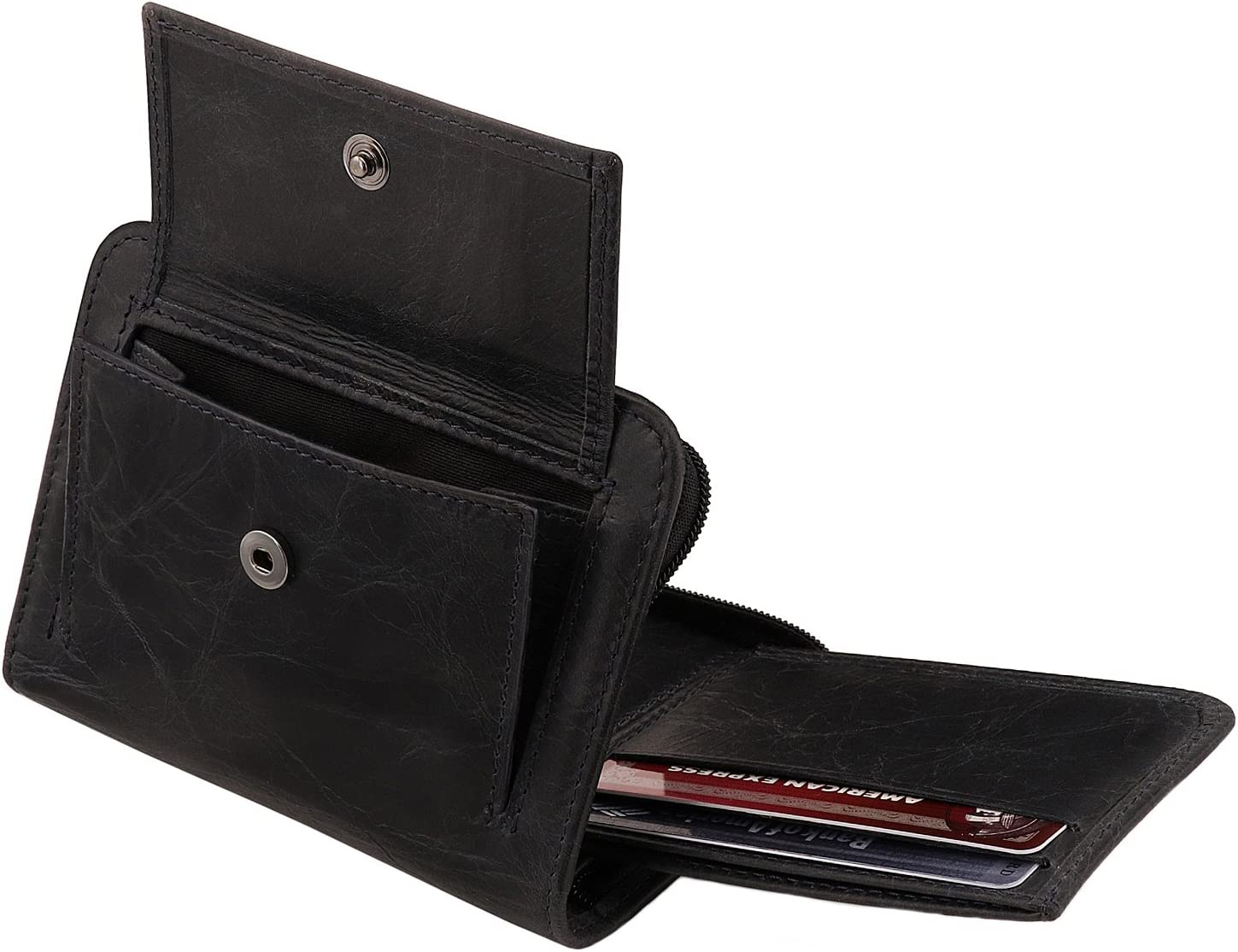 Otto Angelino RFID Blocking Men's Zippered Bifold Wallet - Italian Cowhide Leather - Slim Travel Comfort - Credit Card Holder w/ Transparent ID Slot - Snap Back Coin Holder