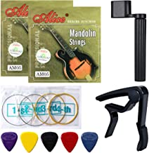 Mandolin Strings, Yoklili 2 Sets of Silver-Plated Copper Alloy Mandalin Strings, Medium, 11-40, Bonus 5 Nylon Standard Heavy Picks, String Winder and Capo included