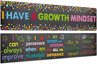 Classroom Banner Confetti-Themed Growth Mindset Poster for Classroom Bulletin Board Decoration