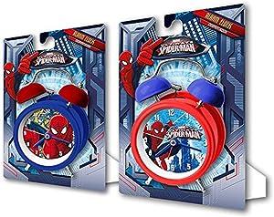 Marvel Orologio Sveglia a Campanella Spiderman Uomo Ragno, 12 Cm, Multicolore, Unica