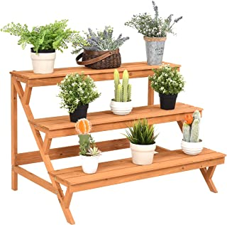 Giantex 3-Tier Plant Stand Flower Pot Holder Display Rack Stand with Step Design, Yellow