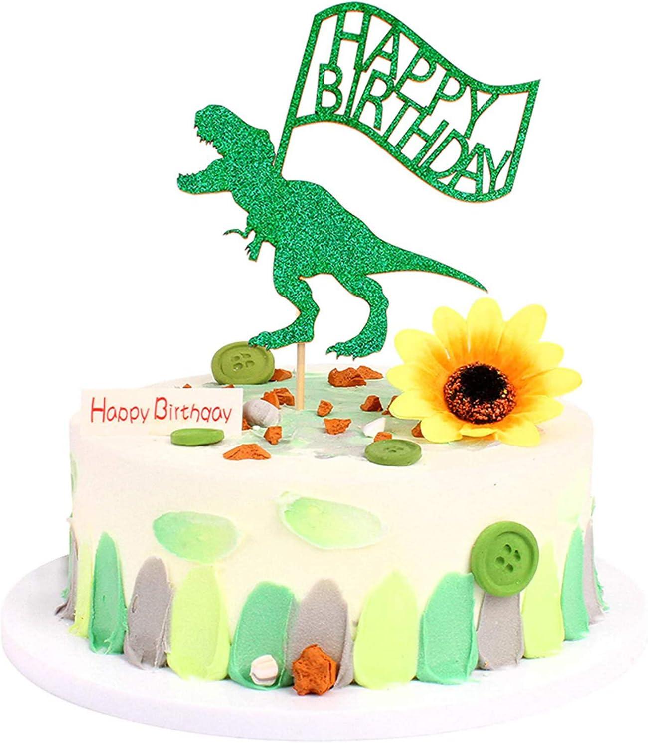 Unimall Kuchen Topper mit Dinosaurier Motiv, grün, glitzernd, Dino  Dschungel, für Babyparty, Kindergeburtstag, Kuchendekoration, 8 Stück