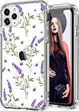 ICEDIO iPhone 11 Pro Case with Screen Protector,Clear with Purple Lavender Floral Flower Patterns for Girls Women,Shockpro...