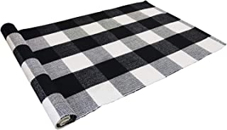 USTIDE Buffalo Plaid Check Rug Black and White Rug 100% Cotton Hand-Woven Tartan Checked Doormat Retro Farmhouse Rug Washable Porch Rugs 24''x51''