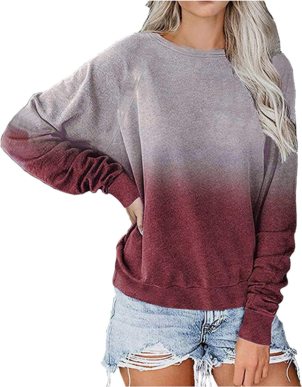 TARIENDY Women Crewneck Sweatshirts Color Gradient Pullover Fashion Long Sleeve Tops 2021 Loose Ladies Tee Shirt
